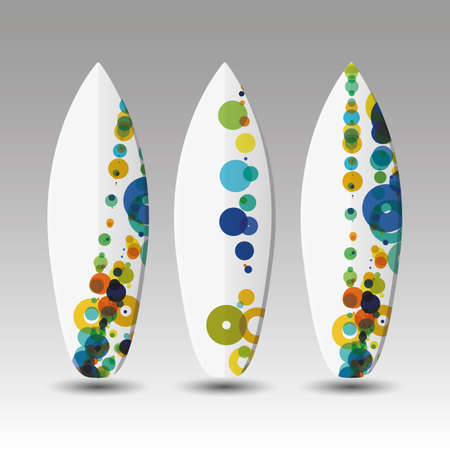 Vector Surfboards Design Template with Colorful Spotted Pattern Vector