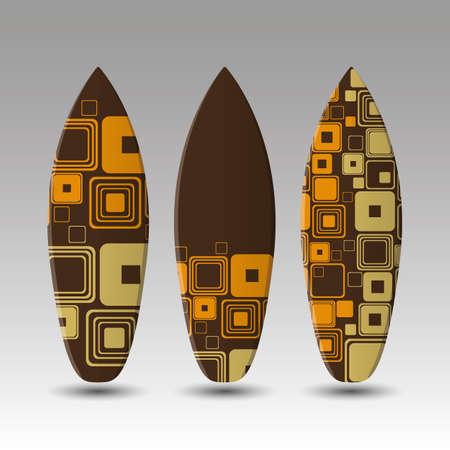 granola: Tablas de surf vector plantilla de diseño con cuadrados Oldschool Ronda Patrón Vectores