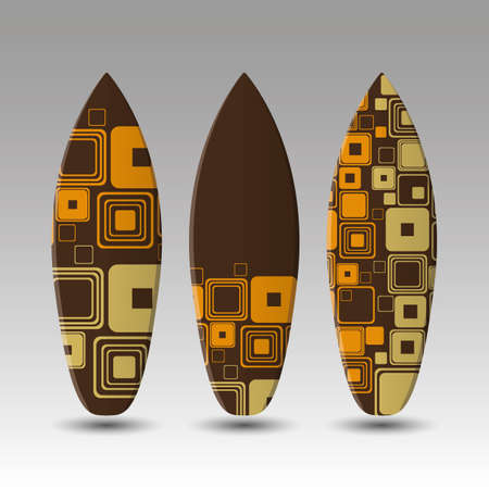 Vector Surfboards Design Template with Oldschool Round Squares Pattern Vector