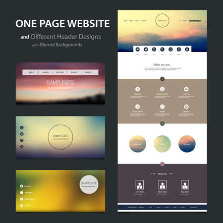 wordpress: One Page Website Template and Different Header Designs with Blurred Backgrounds