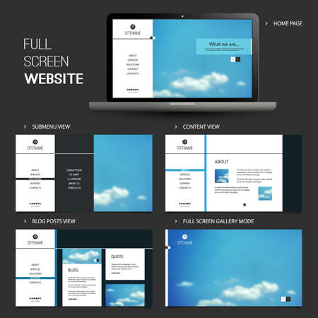 Full Screen Website Template with Blurred Background - Five Different Pages Vector