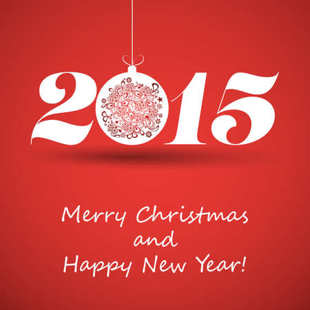 Merry Christmas and Happy New Year Greeting Card - 2015 Vector