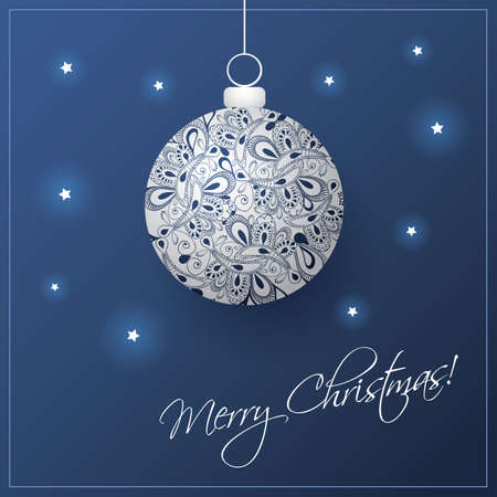 grey backgrounds: Christmas Card Background with Christmas Ball Illustration