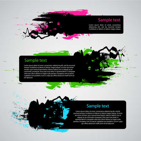 Set of Three Grungy Labels or Banners Vector