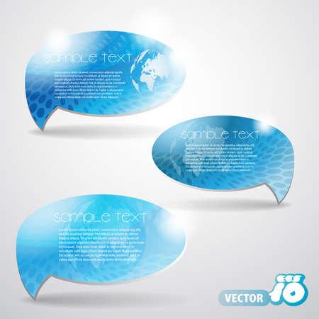 Set of Blue Speech Bubbles Vector