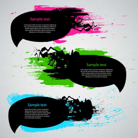 Set of Three Grungy Speech Bubbles Vector