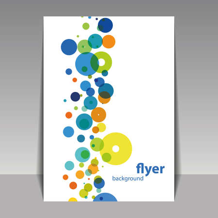 overlapping: Flyer or Cover Design with Colorful Dots, Rings, Bubbles