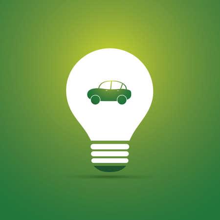 緑色のエコ ・ エネルギー概念アイコン - 電気自動車