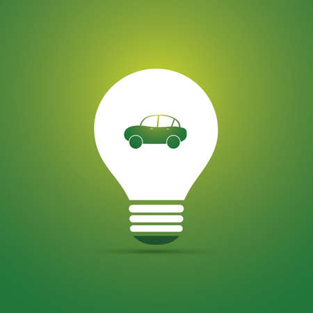 Green Eco Energy Concept Icon - Electric Car Illusztráció