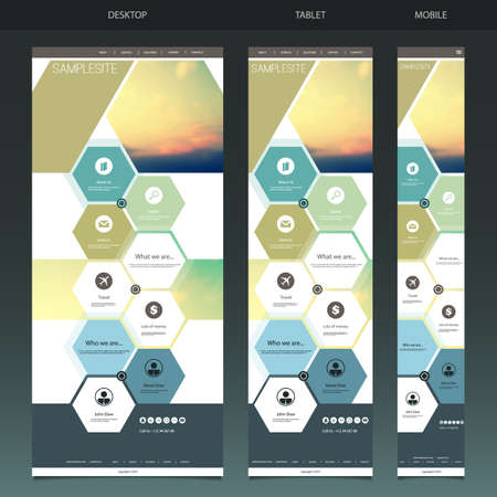 One Page Website Template with Blurred Background - Sunset Vector