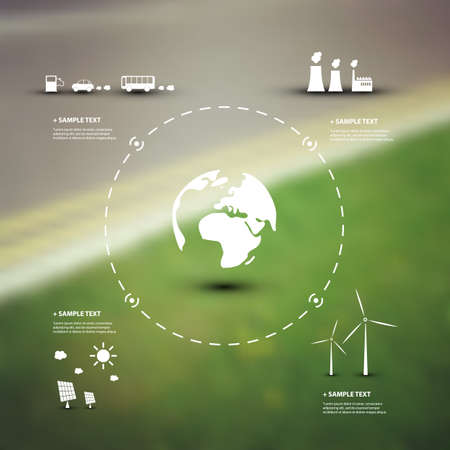 environmentally friendly: Eco Infographic Design Template Illustration
