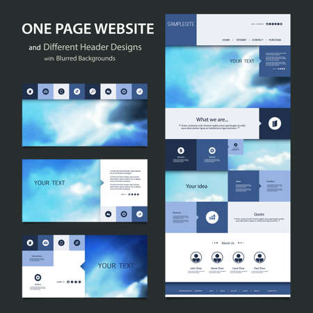 website template: One Page Website Template and Different Header Designs with Blurred Backgrounds