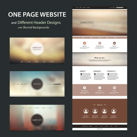 internet button: One Page Website Template and Different Header Designs with Blurred Backgrounds