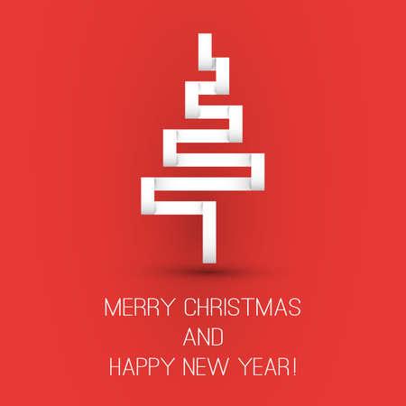 Origami Christmas Tree Card Design Template Vector