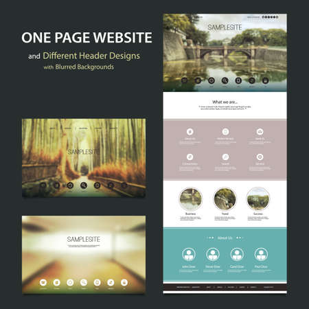 One Page Website Template and Different Header Designs with Blurred Backgrounds