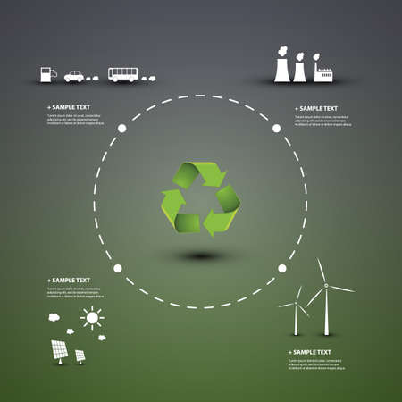 the energy center: Eco Infographic Design Template Illustration