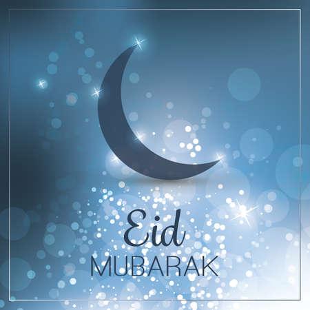 crescent moon: Eid Mubarak - Moon in the Sky - Greeting Card for Muslim Community Festival