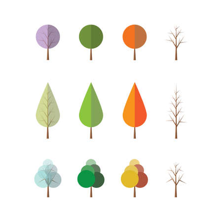 Four Seasons - Different Tree Designs Vector