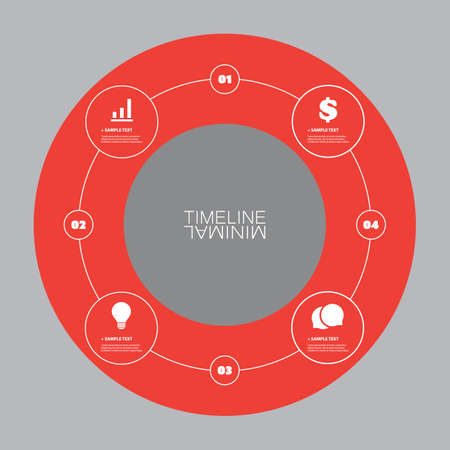 Minimal Timeline Circle Design - Infographic Elements with Icons Vector