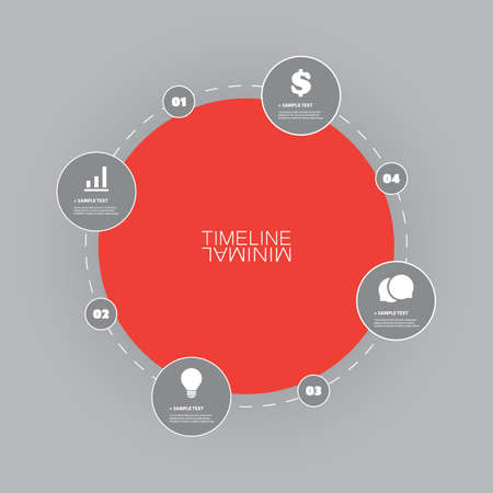dashed line: Minimal Timeline Circle Design - Infographic Elements with Icons