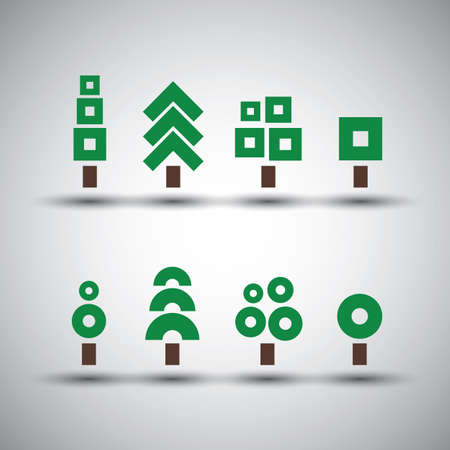 tree ring: Various Tree Designs - Collection of Minimalist Icons Illustration