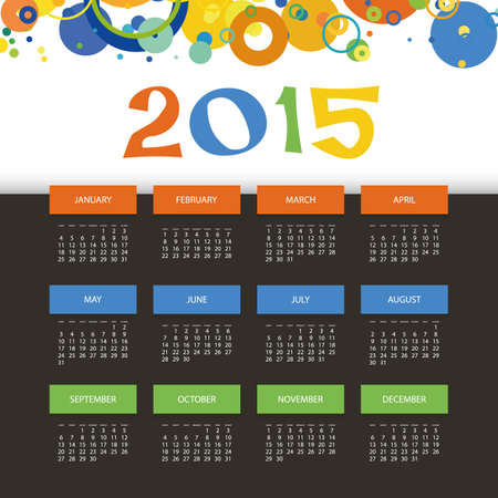Calendar 2015 with Colorful Circles Background Vector