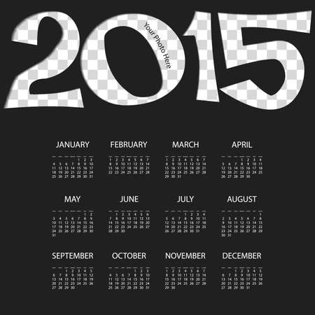 Calendar 2015 Template with Place for Your Background Image Vector