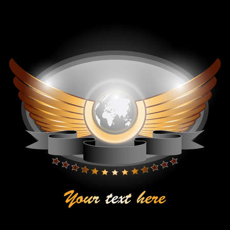animal angelic: Winged Globe -  Vector Illustration Illustration