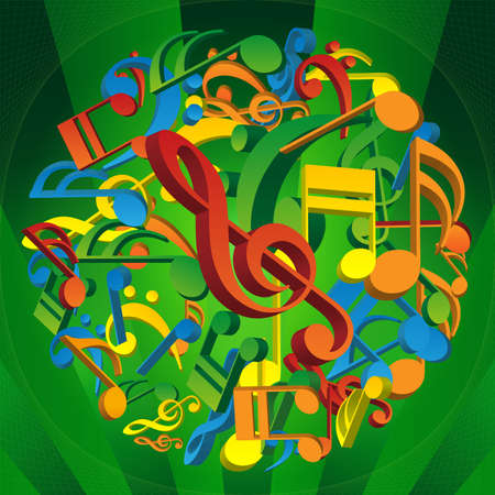 globe theatre: 3D Colorful Musical Notes Concept Background Illustration