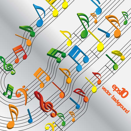 musical score: Colorful Musical Notes Concept Background