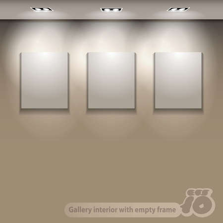 gallery interior: Gallery Interior With Brightly Lit Empty Frames On Wall Illustration