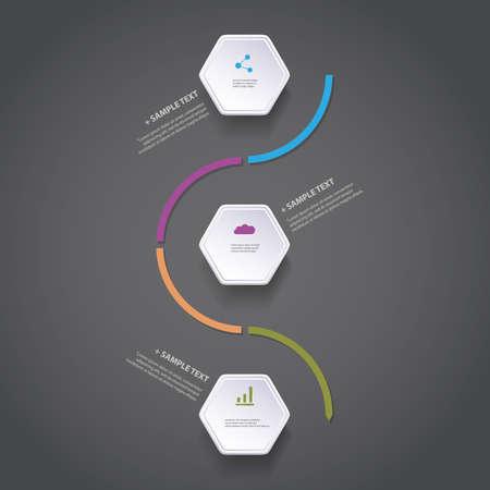 flechas curvas: Infografía Concepto - Diseño Gráfico Flow - línea de tiempo con los hexágonos