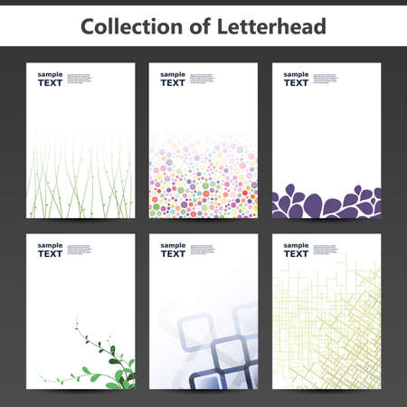 nice: Collection of Letterheads for Your Business - Six Nice and Simple Design Template with Different Patterns