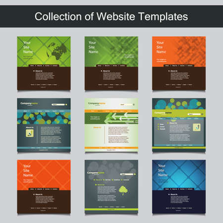 Collection of Website Templates for Your Business - Nine Nice and Simple Design Templates with Different Patterns and Header Designs Vector