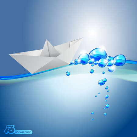 Paper Ship Floating in Wavy Water - Abstract Background Vector
