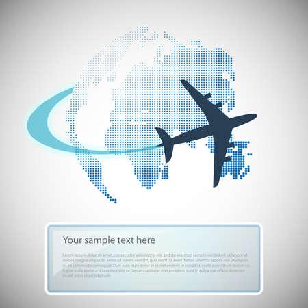Globe Design With Airplane Illustration