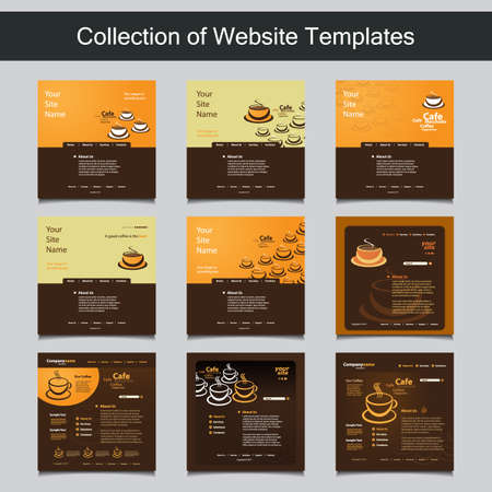 Collection of Website Templates with Different Patterns and Header Designs - Coffee Shop, Cafe