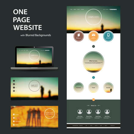 web site design template: One Page Website Template and Different Header Designs with Blurred Backgrounds