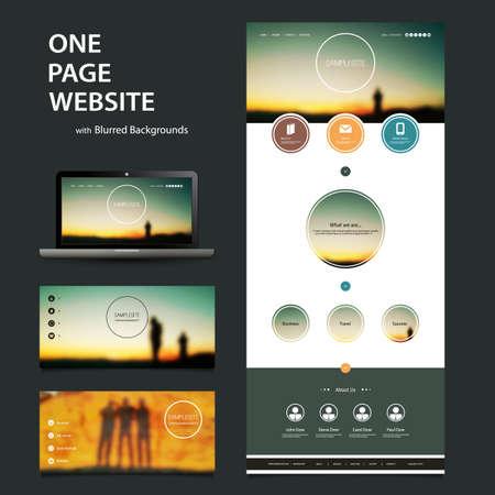 sjabloon: One Page Website Template en Verschillende header ontwerpen met Wazig Achtergronden