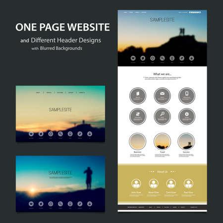 One Page Website Template, dessins et modèles de tête différent avec Fond floues Vecteurs