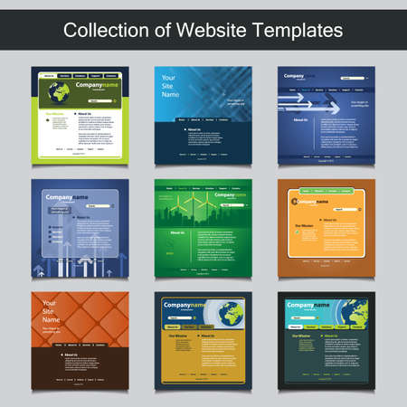 Collection of Website Templates for Your Business - Nine Nice and Simple Design Templates with Different Patterns and Header Designs - Green, Eco, Business Vector
