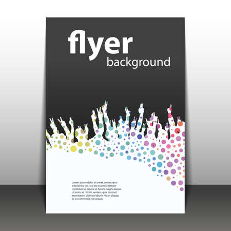 Flyer or Cover Design - Party Time - Dotted Background with Hands Illustration