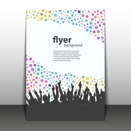 business flyer: Flyer or Cover Design - Party Time - Dotted Background with Hands Illustration