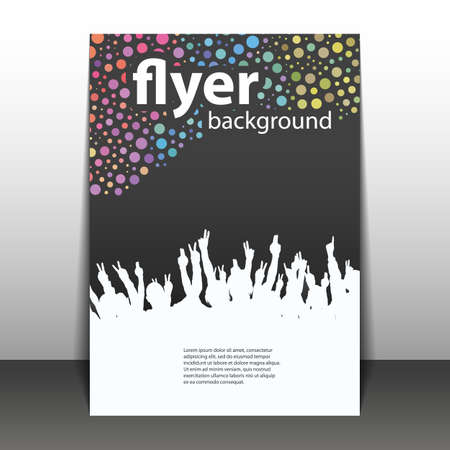 beat brochure: Flyer or Cover Design - Party Time - Dotted Background with Waving Hands Illustration