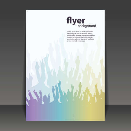 events: Flyer or Cover Design - Party Time - Flyer Template with Colorful Hands Illustration