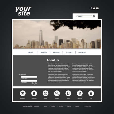 cityview: Website Template with Blurred Cityscape Background Design