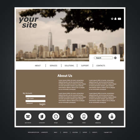 Website Template with Blurred Cityscape Background Design