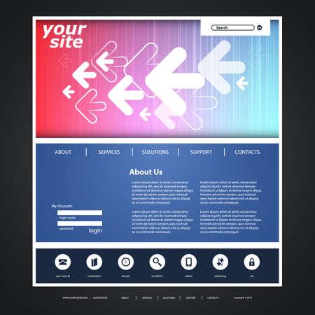 wordpress: Website Template with Arrows Header Design - Business Concept