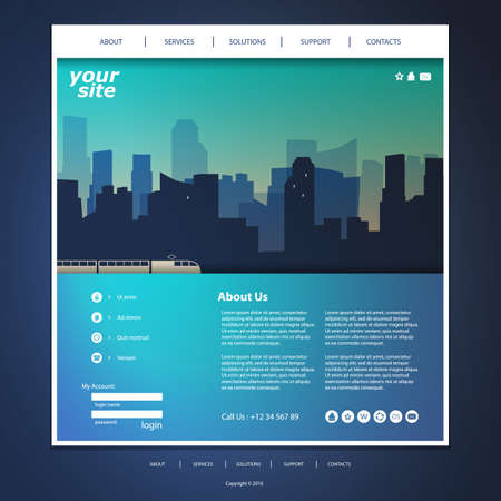 Website Template with City Silhouette Header Design