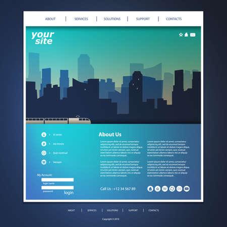 Website Template mit Stadt Silhouette Sturz Standard-Bild - 36377498
